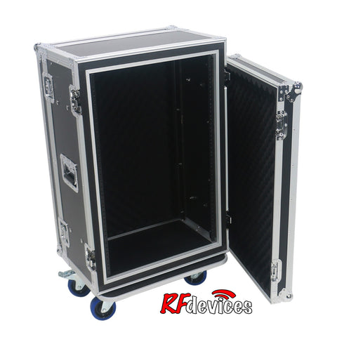 "Shockmount Rackcase Medium 16u ATA - 12"" Rail to Rail 20"" overall -casters  (RFdevices)"
