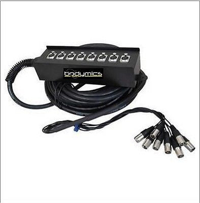 Snake - Cross Stage: 8x XLR (no returns) with Stage Box - 10m (~32') Snake Audio