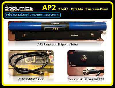 AP2 Wireless Mic Antenna Panel 1u 2x BNC adapters, 2 Cables Shure AT Senn UA440