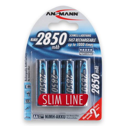 AA NiMH Batteries - Ansmann 2850 mAH Slim - 4 pack