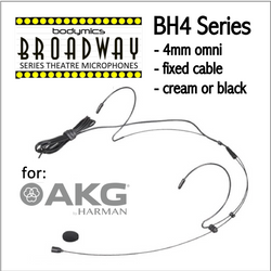 "BH4 Headset for AKG (AK) 3/16"" Omni Dual Ear Headworn Mic - Cream or Black BH4c-AK BH4b-AK BH4Nc-AK BH4Fc-AK (Bodymics Broadway)"