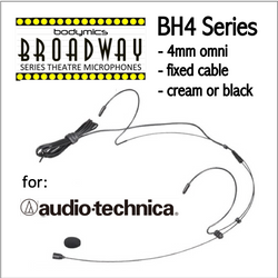 "BH4 Headset for Audio-Technica (AT) 3/16"" Omni Dual Ear Headworn Mic - Cream or Black BH4c-AT BH4b-AT BH4Nc-AT BH4Fc-AT (Bodymics Broadway)"