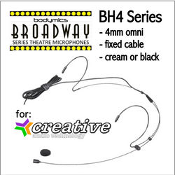 "BH4 Headset for Creative Audio (CA) 3/16"" Omni Dual Ear Headworn Mic - Cream or Black BH4c-CA BH4b-CA BH4Nc-CA BH4Fc-CA (Bodymics Broadway)"