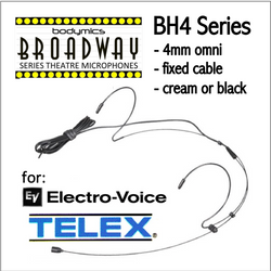 "BH4 Headset for Electro-Voice Telex (EV) 3/16"" Omni Dual Ear Headworn Mic - Cream or Black BH4c-EV BH4b-EV BH4Nc-EV BH4Fc-EV (Bodymics Broadway)"