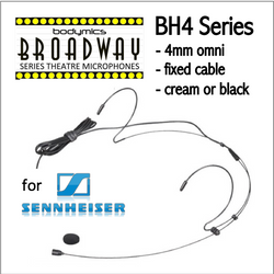 "BH4 Headset for Sennheiser (SE) 3/16"" Omni Dual Ear Headworn Mic - Cream or Black BH4c-SE BH4b-SE BH4Nc-SE BH4Fc-SE (Bodymics Broadway)"