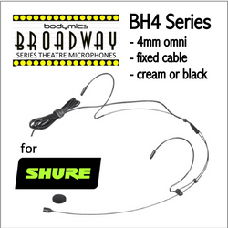 "BH4 Headset for Shure (SH) 3/16"" Omni Dual Ear Headworn Mic - Cream or Black BH4c-SH BH4b-SH BH4Nc-SH BH4Fc-SH (Bodymics Broadway)"