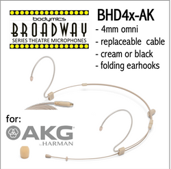 "BHD4 for AKG (AK) 3/16"" Omni Adjustable Length Boom Headset Mic - Cream or Black BHD4c-AK BHD4b-AK BHD4c-AK BHD4b-AK (Bodymics Broadway)"