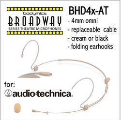 "BHD4 for Audio-Technica (AT) 3/16"" Omni Adjustable Length Boom Headset Mic - Cream or Black BHD4c-AT BHD4b-AT BHD4c-AT BHD4b-AT (Bodymics Broadway)"