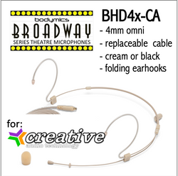 "BHD4 for Creative Audio (CA) 3/16"" Omni Adjustable Length Boom Headset Mic - Cream or Black BHD4c-CA BHD4b-CA BHD4c-CA BHD4b-CA (Bodymics Broadway)"