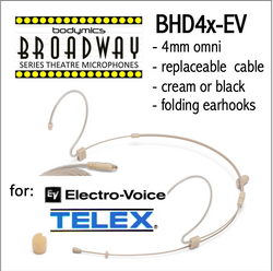 "BHD4 for Electro-Voice Telex (EV) 3/16"" Omni Adjustable Length Boom Headset Mic - Cream or Black BHD4c-EV BHD4b-EV BHD4c-EV BHD4b-EV (Bodymics Broadway)"