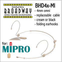 "BHD4 for MIPRO (MI) 3/16"" Omni Adjustable Length Boom Headset Mic - Cream or Black BHD4c-SH BHD4b-SH BHD4c-SH BHD4b-SH (Bodymics Broadway)"