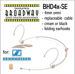 "BHD4 for Sennheiser (SE) 3/16"" Omni Adjustable Length Boom Headset Mic - Cream or Black BHD4c-SE BHD4b-SE BHD4c-SE BHD4b-SE (Bodymics Broadway)"