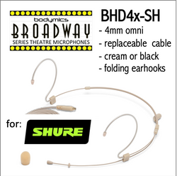 "BHD4 for Shure (SH) 3/16"" Omni Adjustable Length Boom Headset Mic - Cream or Black BHD4c-SH BHD4b-SH BHD4c-SH BHD4b-SH (Bodymics Broadway)"
