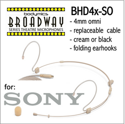"BHD4 for SONY (SO) 3/16"" Omni Adjustable Length Boom Headset Mic - Cream or Black BHD4c-SH BHD4b-SH BHD4c-SH BHD4b-SH (Bodymics Broadway)"