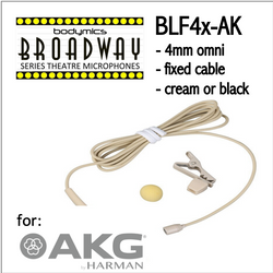"BLF4 for AKG (AK) 3/16"" Omni Hairline/Lavalier Mic - Cream or Black BLF4c-AK BLF4b-AK (Bodymics Broadway)"