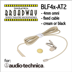 "BLF4 for Audio-Technica Post 2018 (AT2) 3/16"" Omni Hairline/Lavalier Mic - Cream or Black  BLF4c-AT2 BLF4b-AT2 (Bodymics Broadway)"