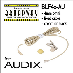 "BLF4 for Audix (AU) 3/16"" Omni Hairline/Lavalier Mic - Cream or Black BLF4c-AU BLF4b-AU (Bodymics Broadway)"