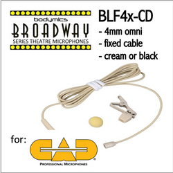 "BLF4 for CAD (CD) 3/16"" Omni Hairline/Lavalier Mic - Cream or Black BLF4c-CD BLF4b-CD BLF4c-CD BLF4b-CD (Bodymics Broadway)"