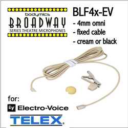 "BLF4 for Electro-Voice Telex (EV) 3/16"" Omni Hairline/Lavalier Mic- Cream or Black BLF4c-EV BLF4b-EV BLF4c-EV BLF4b-EV (Bodymics Broadway)"