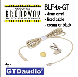 "BLF4 for GTD (GT) 3/16"" Omni Hairline/Lavalier Mic - Cream or Black BLF4c-GT BLF4b-GT (Bodymics Broadway)"