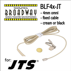 "BLF4 for JTS (JT) 3/16"" Omni Hairline/Lavalier Mic - Cream or Black BLF4c-JT BLF4b-JT BLF4c-JT BLF4b-JT (Bodymics Broadway)"