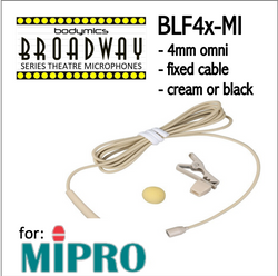 "BLF4 for MiPro (MI) 3/16"" Omni Hairline/Lavalier Mic - Cream or Black BLF4c-MI BLF4b-MI BLF4c-MI BLF4b-MI (Bodymics Broadway)"