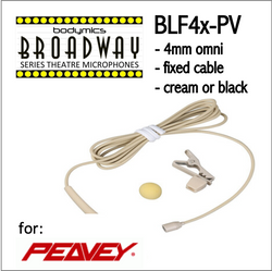 "BLF4 for Peavey (PV) 3/16"" Omni Hairline/Lavalier Mic - Cream or Black BLF4c-PV BLF4b-PV BLF4c-PV BLF4b-PV (Bodymics Broadway)"