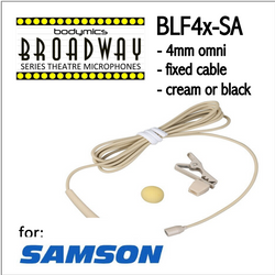 "BLF4 for Samson (SA) 3/16"" Omni Hairline/Lavalier Mic - Cream or Black BLF4c-SA BLF4b-SA BLF4c-SA BLF4b-SA (Bodymics Broadway)"