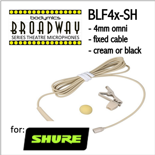 "BLF4 for Shure (SH) 3/16"" Omni Hairline/Lavalier Mic - Cream or Black BLF4c-SH BLF4b-SH BLF4c-SH BLF4b-SH (Bodymics Broadway)"
