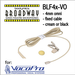 "BLF4 for VocoPro (VO) 3/16"" Omni Hairline/Lavalier Mic - Cream or Black BLF4c-VO BLF4b-VO(Bodymics Broadway)"