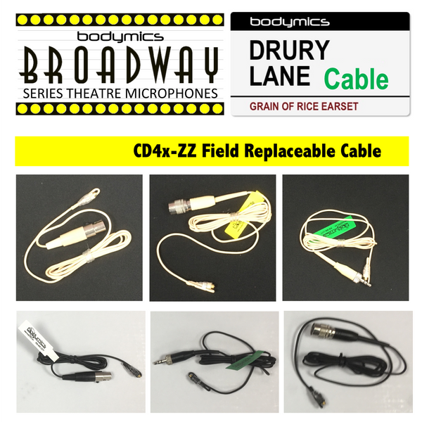g. Field Replacement Cable for Broadway & Drury Lane Mic Elements - 1.6mm Hardened Strain Relief Spare  CD4c CD4b CD4m