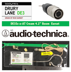 "DE3-AT for pre 2018 Audio-Technica 1/10"" (<3mm) Omni Select Standard Child or Short Boom Earset Mic - Cream"