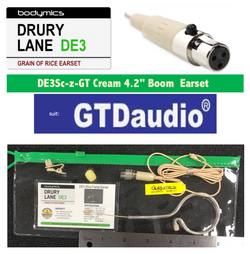 "DE3-GT fo GTD Audio 1/10"" (<3mm) Omni Select Standard Child or Short Boom Earset Mic - Cream"