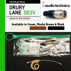 "DE3V for Audio-Technica (AT) 3/16"" Omni Flexible Adjustable Length Boom Earset Mic - Cream or Black DE3Vc-AT DE3Vb-AT (Bodymics Drury Lane)"