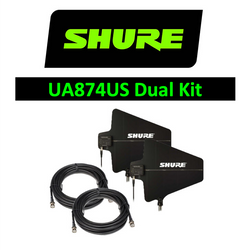 Shure Wireless Dual UA874US LPDA Directional Antenna Paddle UHF with 25ft cables