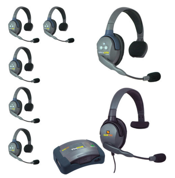 Wireless Duplex Intercom Single or Double Ear Transceivers - Eartec UltraLITE Systems - 2-7 sets