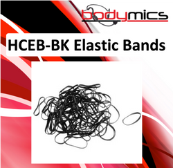 c. HCEB-xx 100 or 500 pack of black or clear elastic bands for HCC hair clips to hold hairline mics in place