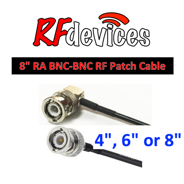 "RF Cable  - Right Angle BNC-BNC all metal - 4"", 6"", 8""  RG174 50ohm"