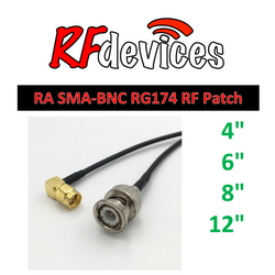 "RF Cable  - Right Angle SMA-BNC all metal - 4"", 6"", 8"", 12""  RG174 50ohm"