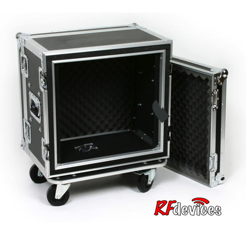 "Shockmount Rackcase Medium 10u ATA - 12"" Rail to Rail 18.25"" overall -  Casters (RFdevices)"