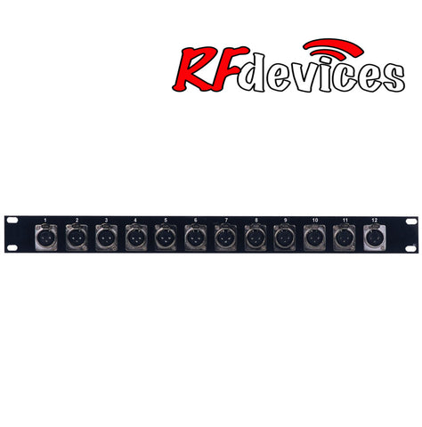 "1u Rack Panel loaded with 12x ""D"" female XLR - RPX-12FX-1u (RP)"