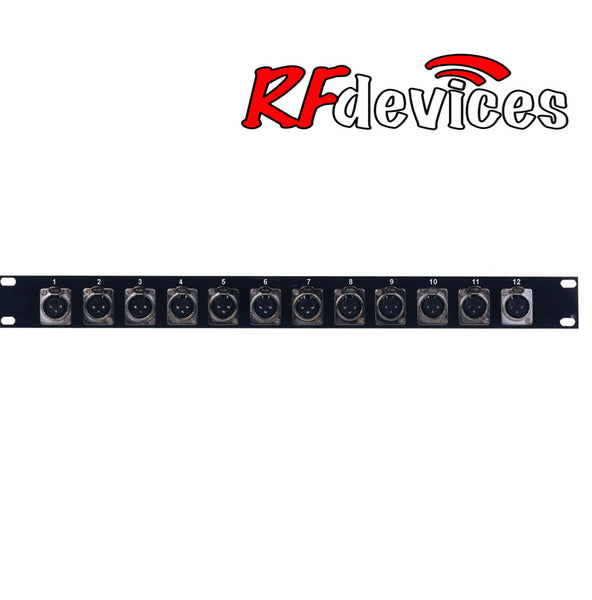 "1u Rack Panel loaded with 12x ""D"" male XLR - RPX-12MX-1u (RP)"