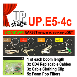 "UPstage UP.E5-4 3/16"" Earset Mic Kit for Theatre - 1 x each Boom 4.2"", 3.3"", 2.5"" 1.4"" - great value"