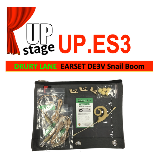 "UPstage UP.ES3 1/10"" omni Earset Mic Kit for Theatre - soft earhook most brands - great value Grain of Rice"