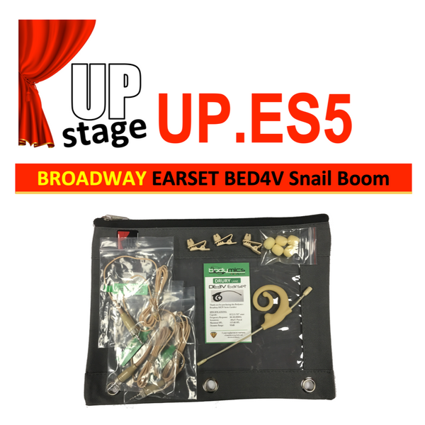 "UPstage UP.ES5 3/16"" omni Earset Mic Kit for Theatre - soft earhook most brands - great value ""Near Invisible"