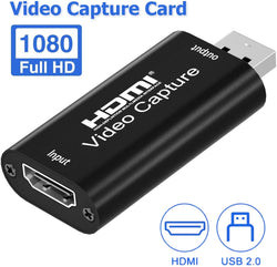 Video Capture - Audio Video Capture Cards, HDMI to USB 2.0 - HDMI Video Capture with Full HD 1080p 30fps Record via DSLR Camcorder Action Cam, Live Streaming, Live Broadcasting