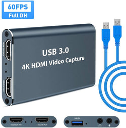 Video Capture - Video Capture Card, USB 3.0 HDMI Video Capture Device with HDMI Loop-Out 1080P 60FPS Live Streaming Game Recorder Device, Compatible Windows Linux OBS OS X Twitch for PS3 PS4 Xbox (Gray)