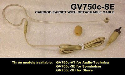 GV750c-xx: Earset Headset Cardioid Mic Cream Field Detachable Cable (GoldenVoice by Bodymics)