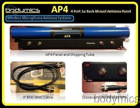 AP4 - Wireless Microphone Antenna Panel 1u 4xBNC adapter, 4 Cables Shure AT Senn