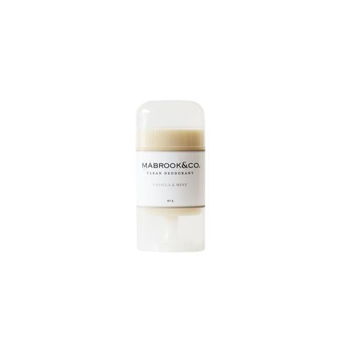 Mabrook & Co Vanilla and Mint Deodorant stick white background